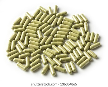 Andrographis paniculata herbal antipyretic capsules isolated on white