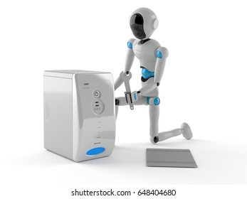 Android fixing computer on white background. 3d illustration