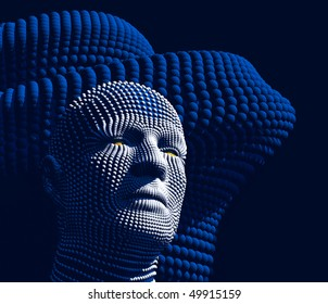 android head from spheres on a dark blue background