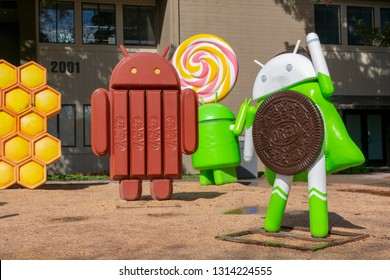 Android lawn statues and sculptures at Google Visitor Center Beta near the Googleplex in Mountain View, California, USA on February 15, 2019
