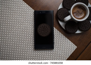 Android Oreo and Cup of Coffee