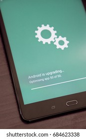 Android OS installing system update on a smartphone mobile device, July 21, 2017.
