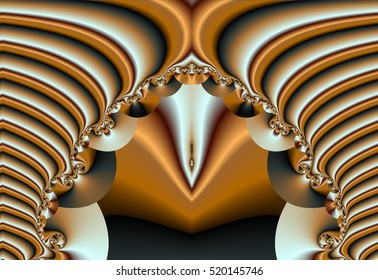 Android vulva, abstract fractal spiral neon yellow black background, Open legs like concentric rings of gold and silver, silver-shaped vulva in the form of sternum,