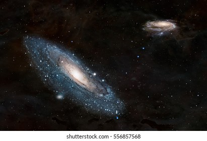 """Andromeda  galaxy against Our galaxy is milky way ( Heic0602a Pinwheel galaxy, Milky Way galaxy  has been amended as) """"Elements of this image furnished by NASA """""""