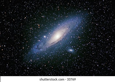 The Andromeda Galaxy, M31, with companion galaxies, M32 and M110