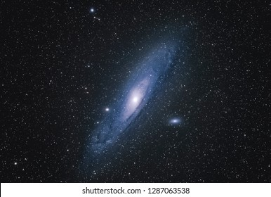 Andromeda Galaxy M31 with Nebula, Open Cluster, Globular Cluster, stars and space dust in the universe long expose