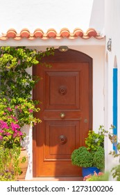 Andros, Greece 05 August 2018. Beautiful house door at Andros island in Greece.