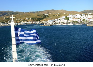 Andros island, Cyclades / Greece - July 05 2019: Photo from famous Gavrio, main port of Andros island