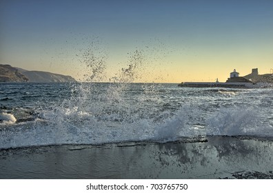 Andros island in Cyclades of Greece/Waves