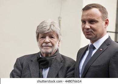 Andrzej Duda and Szewach Weiss. Poland's President Andrzej Duda speaks during the ceremony to commemorate the 70th anniversary of a 1946 massacre of Jews in Kielce. Kielce, Poland - July 4, 2016