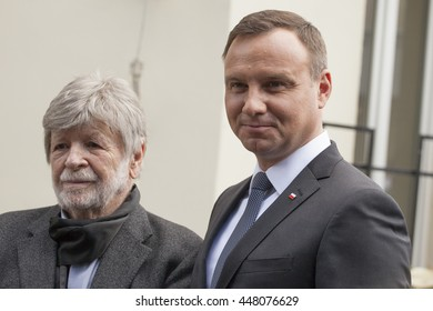 Andrzej Duda and Szewach Weiss. Poland's President Andrzej Duda speaks during the ceremony to commemorate the 70th anniversary of a 1946 massacre of Jews in Kielce. Kielce, Poland - July 4, 2016