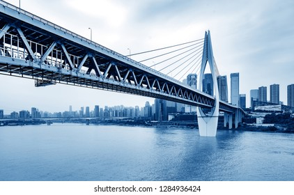 andscape of downtown near water of chongqing in blue sky