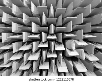 Anechoic chamber / dead room, acoustic absorbers walls texture, black and white