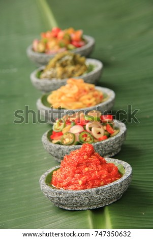 Aneka Sambal Indonesia Five Kinds Indonesian Stock Photo Edit Now