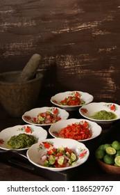 Aneka Sambal Nusantara. Traditional spicy condiments from regional cuisines in Indonesia, such as Sambal Lado, Lado Mudo, Matah, Dabu Dabu, Andaliman, and Petai.