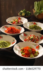 Aneka Sambal Nusantara. Traditional spicy condiments from regional cuisines in Indonesia, such as Sambal Lado, Lado Mudo, Matah, Dabu Dabu, Andaliman, and Petai.
