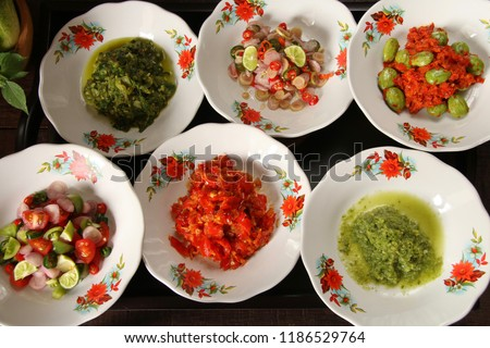 Aneka Sambal Nusantara Traditional Spicy Condiments Stock Photo