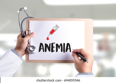 ANEMIA blood for test , Medical Concept , Diagnosis Iron deficiency doctor hand working Professional , aplastic anemia