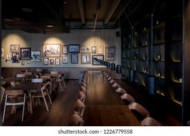 Anenii Noi, Moldova - November 2018: MiMi Castle Winery Restaurant interior