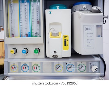 anesthesia machine  in hospital operating room.Gas mixer