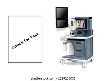 Anesthetic Machine Isolated on White. Anesthesia Workstation with the Ventilation Breathing. Medical Equipment. Patient Monitoring System. Anesthesia Delivery System with Gas Scavenging Systems