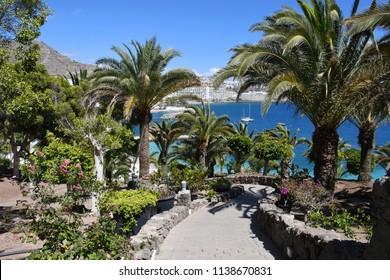 Anfi del Mar beach with palm trees, Island of Gran Canaria, Spain
