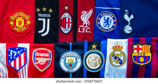 Anfield, Liverpool, Merseyside, England. April 19, 2021. A Horizontal Banner of the Super League or European Super League teams jerseys an annual club football competition.