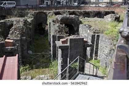 Anfiteatro Romano on Piazza Stesicoro in Catania, Sicily, Italy