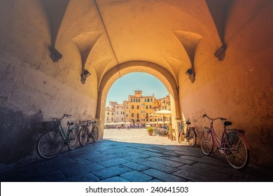 Anfiteatro square in Lucca. Lucca is a thriving and cosmopolitan city, with a rich history and culture, and many museums and churches.effect vintage