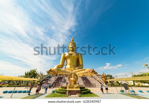 Ang Thong, Thailand - December 31, 2015: Great Buddha of Thailand statue. Big golden sitting Buddha at Wat Muang temple complex