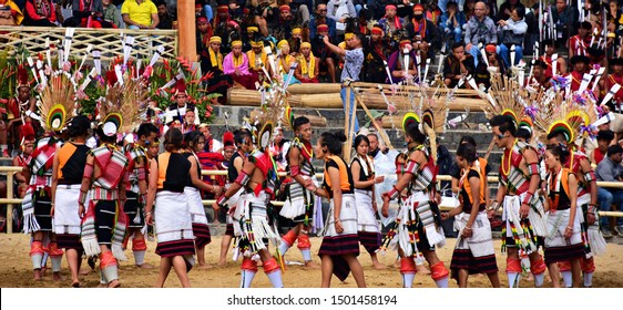 """""""Angami tribe of Nagaland performing 'Melo Phita' dance on the occasion of 19th Hornbill festival, held at Kisama heritage village, Kohima, Northeast India on 3rd December 2018"""""""