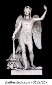 Angel of the Arts by Filippo Gnaccarini in Pincio's Nymphaeum, Rome Italy