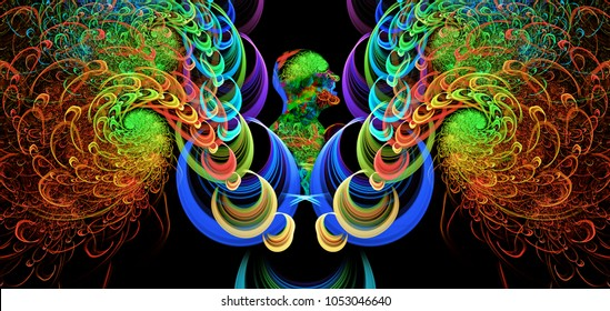 Angel with beautiful wings , abstract illustration