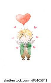 Angel boy with a heart balloon. Watercolor painting