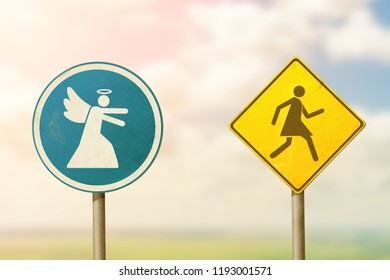 Angel catches a woman. Road sign