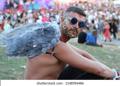 Angel in the crowd during a festival