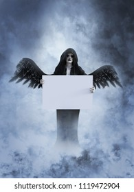 An angel of death with its black wings spread holding a blank sign for your divine message, 3D rendering. She is surrounded by smoke or clouds like it's a dream or in heaven.
