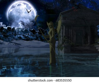 Angel of Death - Spooky Night background with moon - 3d rendering