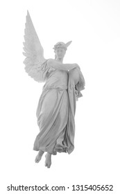 Angel of death as symbol of pain, fear and end of life. Ancient stone sculpture isolated on white background.