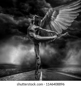 Angel, elegance and beauty of a ballet dancer model with great musculature and beautiful body