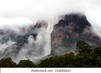 Angel fall (Salto Angel) in the mist after a rainy night. Salto Angel is the tallest waterfall in the world. Canaima National Park, Venezuela