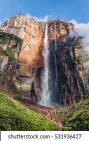 Angel Falls ( Salto Angel ) is worlds highest waterfalls (978 m) on a sunny day - Venezuela, Latin America