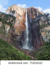 the Angel Falls (Salto Angel) is worlds highest waterfalls (978 m). Venezuela, Latin America