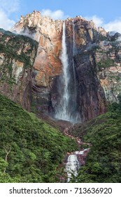 the Angel Falls (Salto Angel) is worlds highest waterfalls (978 m). Venezuela, Latin America