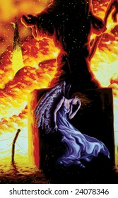 angel in fire painting