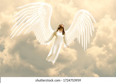 Angel Floating in the Clouds