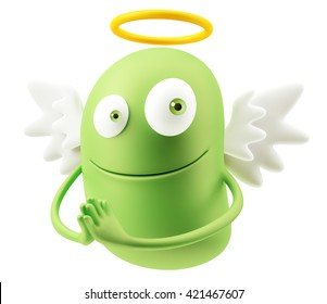 Angel Flying Heaven Emoticon Face. 3d Rendering.