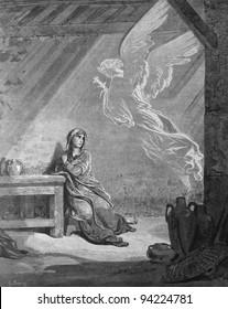 Angel Gabriel and the Mary. Annunciation. 1) Le Sainte Bible: Traduction nouvelle selon la Vulgate par Mm. J.-J. Bourasse et P. Janvier. Tours: Alfred Mame et Fils. 2) 1866 3) France 4) Gustave Doré