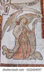The angel Gabriel and the writing 1523, a wall-painting from about the year 1500 in the church of St. Mary, Elsinore, Denmark, May 14, 2019