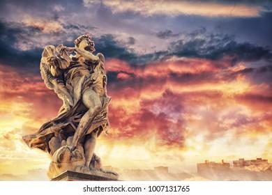Angel  of Gian Lorenzo Bernini on the Ponte Sant'Angelo or  Bridge of Hadrian, Rome, Italy.